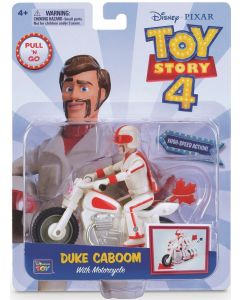 TOY STORY 4 PULL 'N GO DUKE CABOOM With Motorcycle